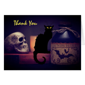 Scary Black Cat and Skull Halloween Thank You Card