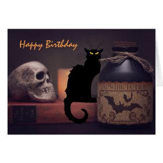 Scary Black Cat and Skull Happy Birthday Card