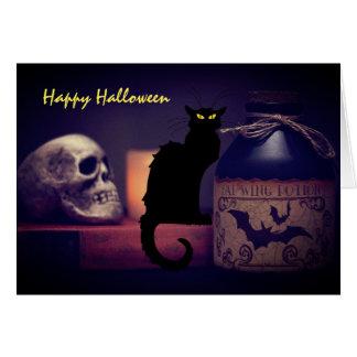 Scary Black Cat and Skull Happy Halloween Card