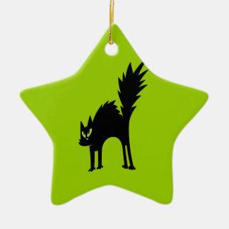 SCARY BLACK CAT CARTOON GREEN EYES LOGO ICON PETS ORNAMENT