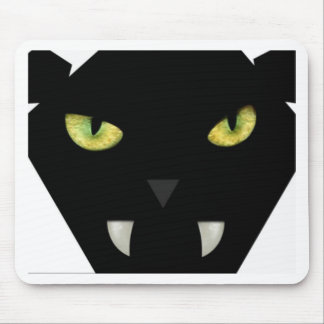 SCARY BLACK CAT FACE WITH GREEN EYES MOUSEPADS