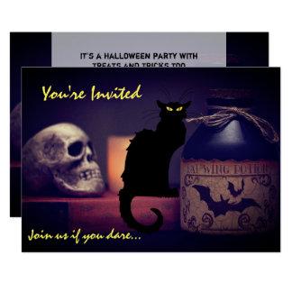 Scary Black Cat n Skull Halloween Party Invitation