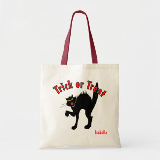 Scary Black Cat Trick or Treat Candy Budget Tote Bag