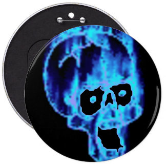 Scary Blue Flames Skull Halloween XL Button