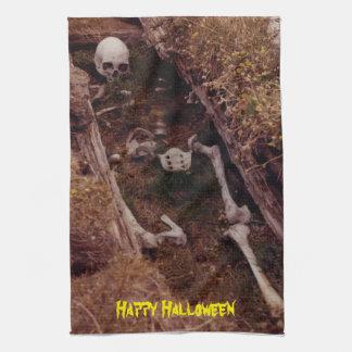 Scary Bones Skeleton Halloween Photo Designed Tea Towels
