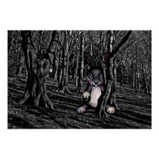 Scary Bunny in the Dark Woods Poster