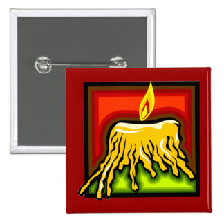 SCARY CARTOON CANDLE RED ORANGE GREEN YELLOW MELTI BUTTON