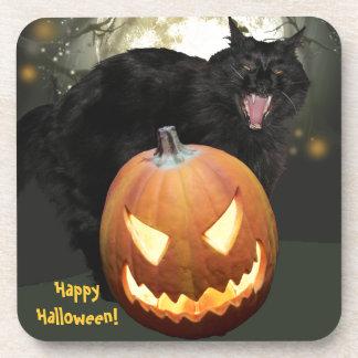 Scary Cat and Pumpkin Halloween Coaster