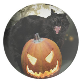 Scary Cat and Pumpkin Halloween Plate