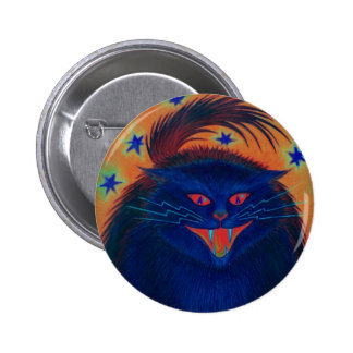 Scary Cat Blue button round