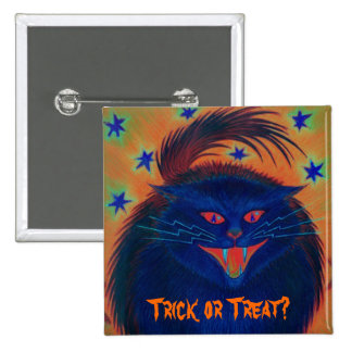 Scary Cat Blue Trick or Treat button