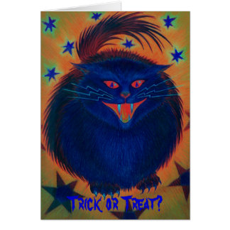 Scary Cat Blue 'Trick or Treat?' greetings card