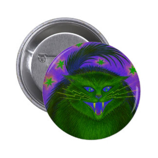 Scary Cat Green button round