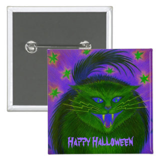 Scary Cat Green Happy Halloween button