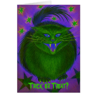 Scary Cat Green 'Trick or Treat?' greetings card
