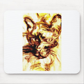 Scary cat of the yellow tone mousepad