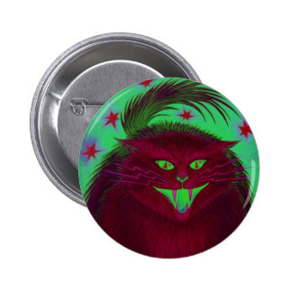 Scary Cat Red button round