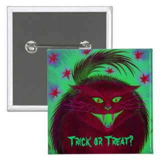 Scary Cat Red Trick or Treat button