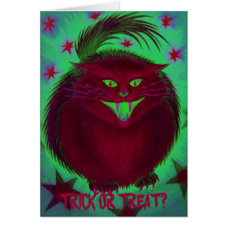 Scary Cat Red 'Trick or Treat?' greetings card