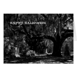 Scary Cemetery Ghost Happy Halloween Card