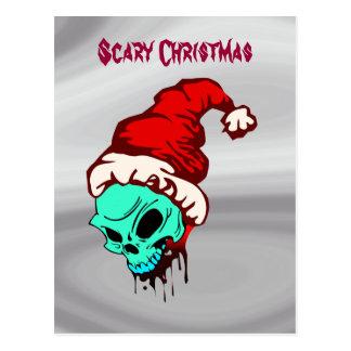 Scary Christmas Santa Skull Bloody Postcard