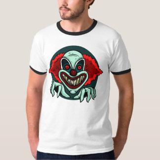 Scary clown peeking out men's t-shirt