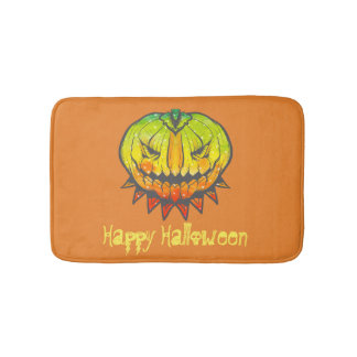 Scary Colorful Pumpkin Bath Mat