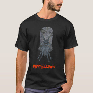 Scary Creature Tombstone Halloween T-Shirt