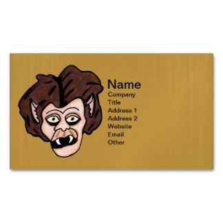 Scary Creepy Werewolf Head Fangs Cartoon Wolf Man Magnetic Business Cards