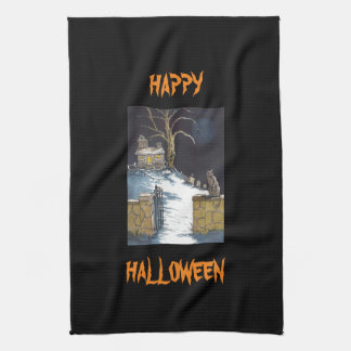 Scary Cute Halloween Haunted House Cat Tea Towel