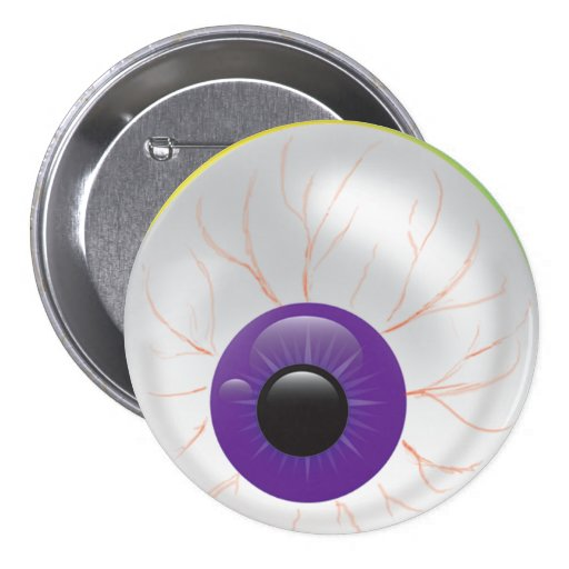 Scary Evil Purple Zombie 3D Eye Halloween Button