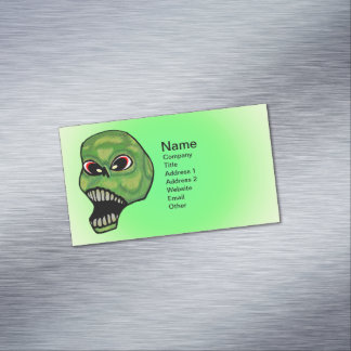 Scary Evil Screaming Green Skull Magnetic Business Cards