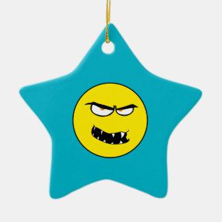 Scary Evil Smiley Face Ceramic Star Decoration