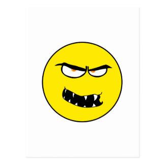 Scary Evil Smiley Face Postcard
