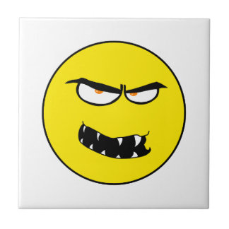 Scary Evil Smiley Face Small Square Tile