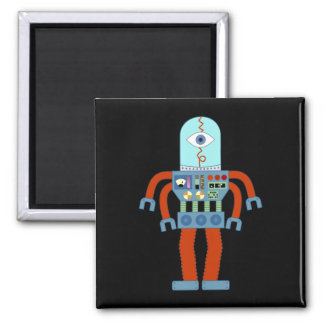 Scary Eyeball Robot Square Magnet