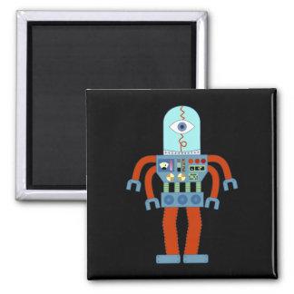 Scary Eyeball Robot Square Magnet