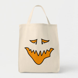 Scary Face. Monster Grin in Orange. Tote Bag