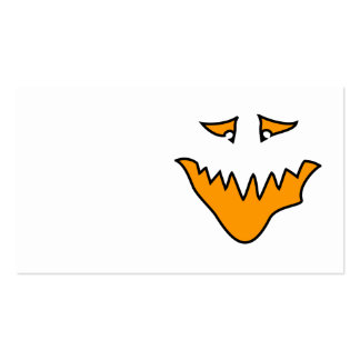 Scary Face Monster Grin in Orange Business Card Templates