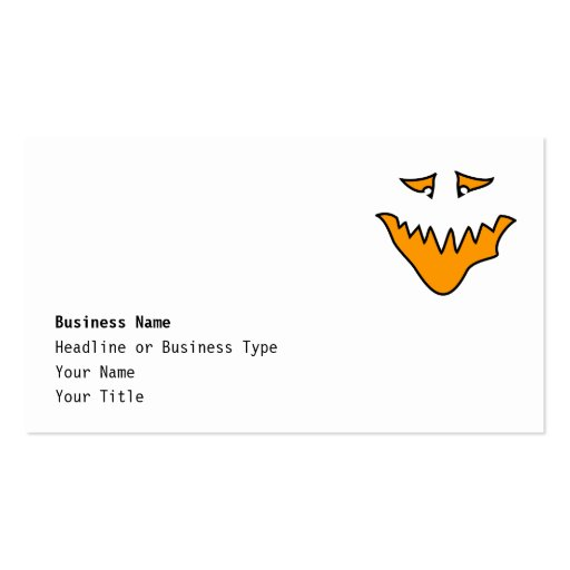 Scary Face. Monster Grin in Orange. Business Card Template
