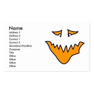Scary Face Monster Grin in Orange Business Card