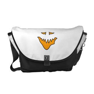 Scary Face Monster Grin in Orange on White Commuter Bag
