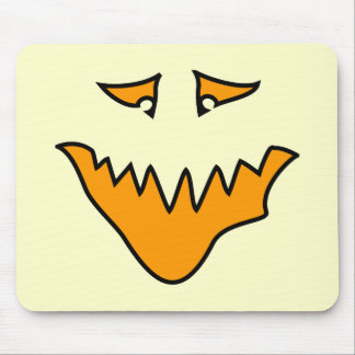 Scary Face. Orange Monster . Mouse Pad