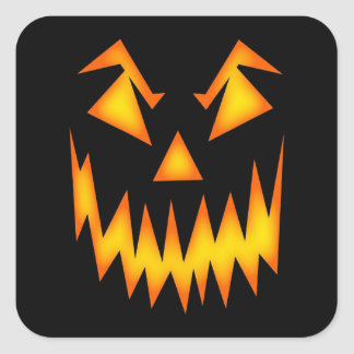 Scary Face Orange on Black Halloween Spooky Square Sticker