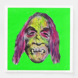 scary fiendish horror monster portrait disposable serviettes