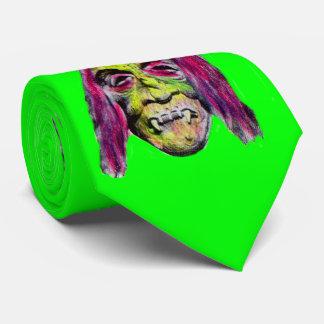 scary fiendish horror monster portrait tie