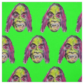 scary fiendish horror monster print fabric