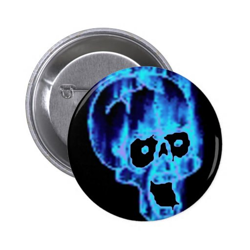 Scary Flaming Blue Skull Halloween Button