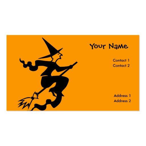 scary flying witch business card templates