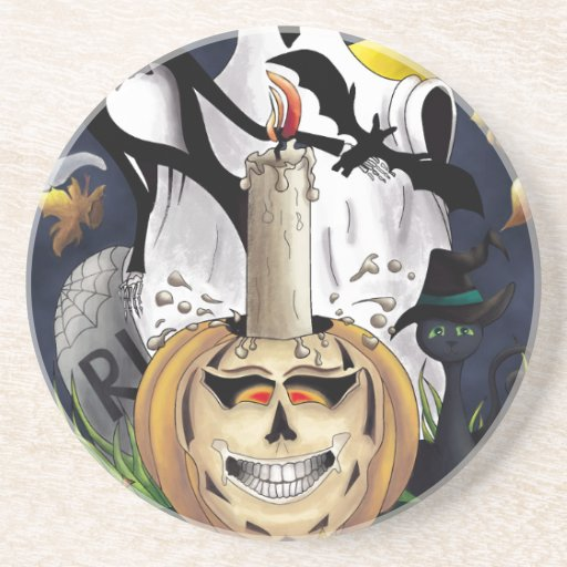 Scary Fun Halloween Creatures Beverage Coasters